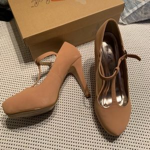 Pinkish-nude, tstrap pumps —worn once